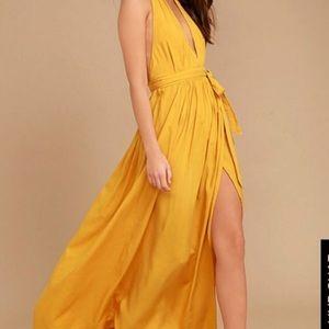 Lulus Magical Movement Mustard Wrap Maxi Dress